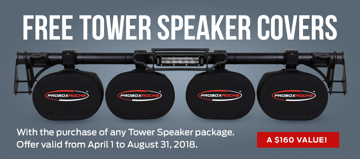 Free Tower Speaker Covers with the purchase of any Tower Speaker package